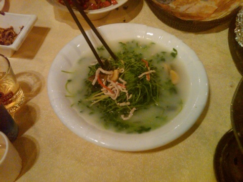 A dish of a very delicate and delicious green with pork