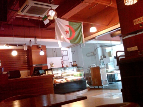 Day 18 lunch at an algerian coffee house seperate smoking area for the hookahs
