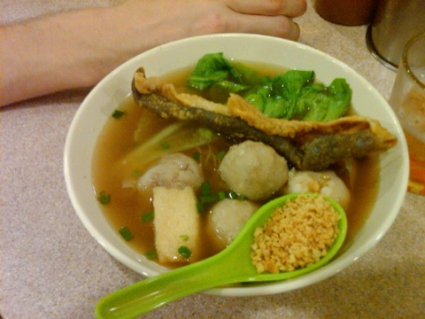 Day 26 noodle soup with fish balls and crispy fried fish skin