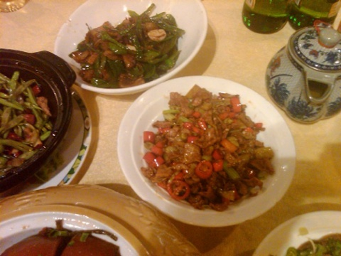 Pork with red chiles and beef with mild green chiles and mushrooms